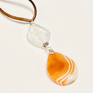 Orange Onyx & Clear Quartz Crystal Necklace